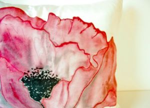 Emily Magone Red Poppy silk throw pillow