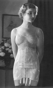 model in an early 1930s Spencer corset